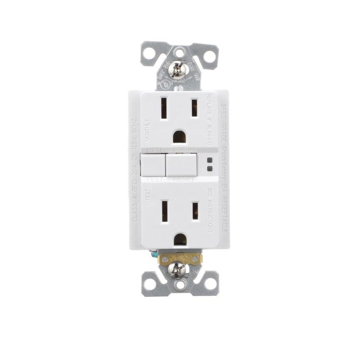 Eaton White 15-Amp Decorator with Wall Plate Outlet GFCI