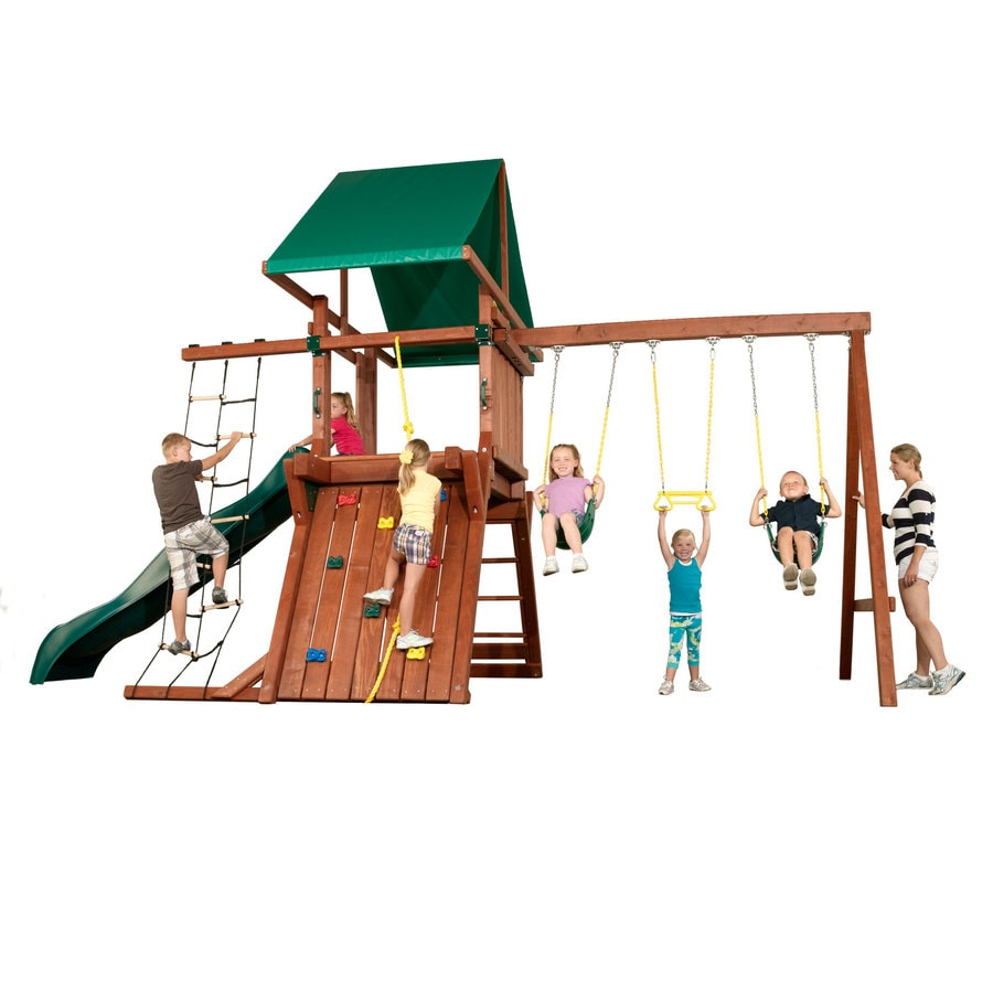 Swing-N-Slide Jupiter USA Red Ready-to-Assemble Premier Residential Wood Playset with Swings