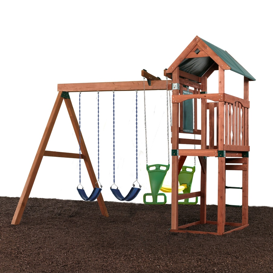 Swing-N-Slide Glenwood Ready-to-Assemble Kit Without Slide Residential Wood Playset with Swings