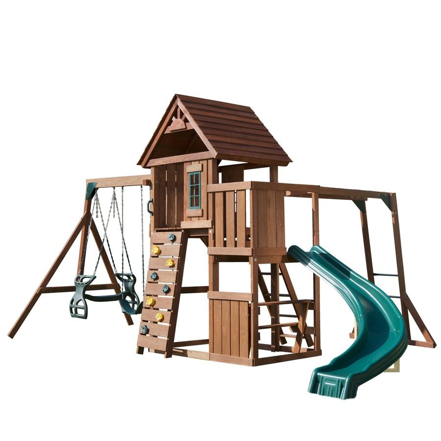 Swing-N-Slide Cedar Brook Complete Ready-to-Assemble Kit Wood Playset with Swings