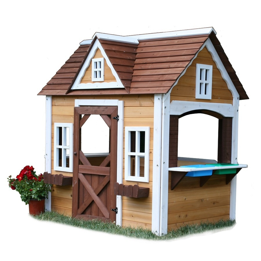 Shop swing n slide wood playhouse kit at for How to make a playhouse out of wood