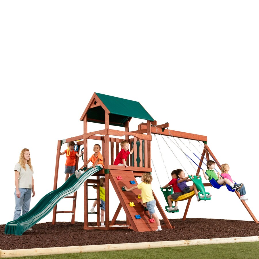 Swing-N-Slide Glenwood Deluxe Wood Complete Ready-to-Assemble Kit Residential Wood Playset with Swings