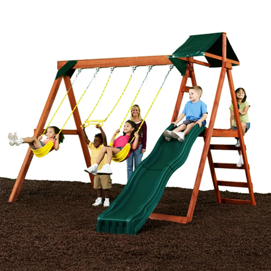 Swing-N-Slide McSummit Wood Complete Ready-to-Assemble Kit Residential Wood Playset with Swings