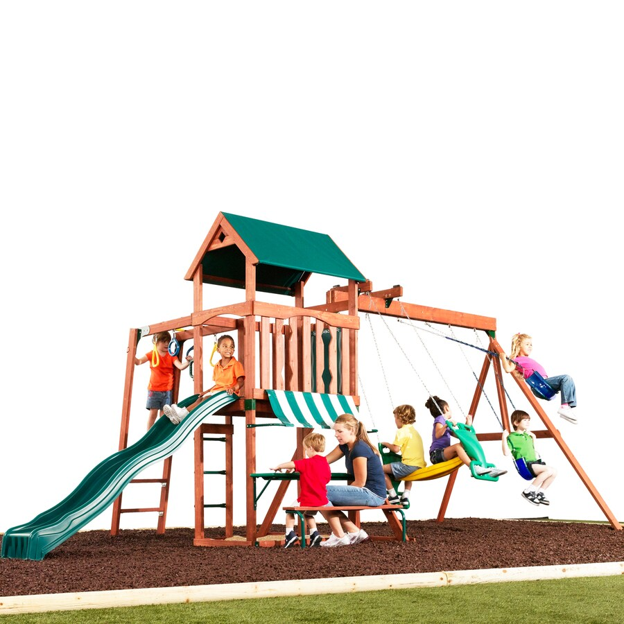 Swing-N-Slide Glenwood Discover Wood Complete Ready-to-Assemble Kit Residential Wood Playset with Swings