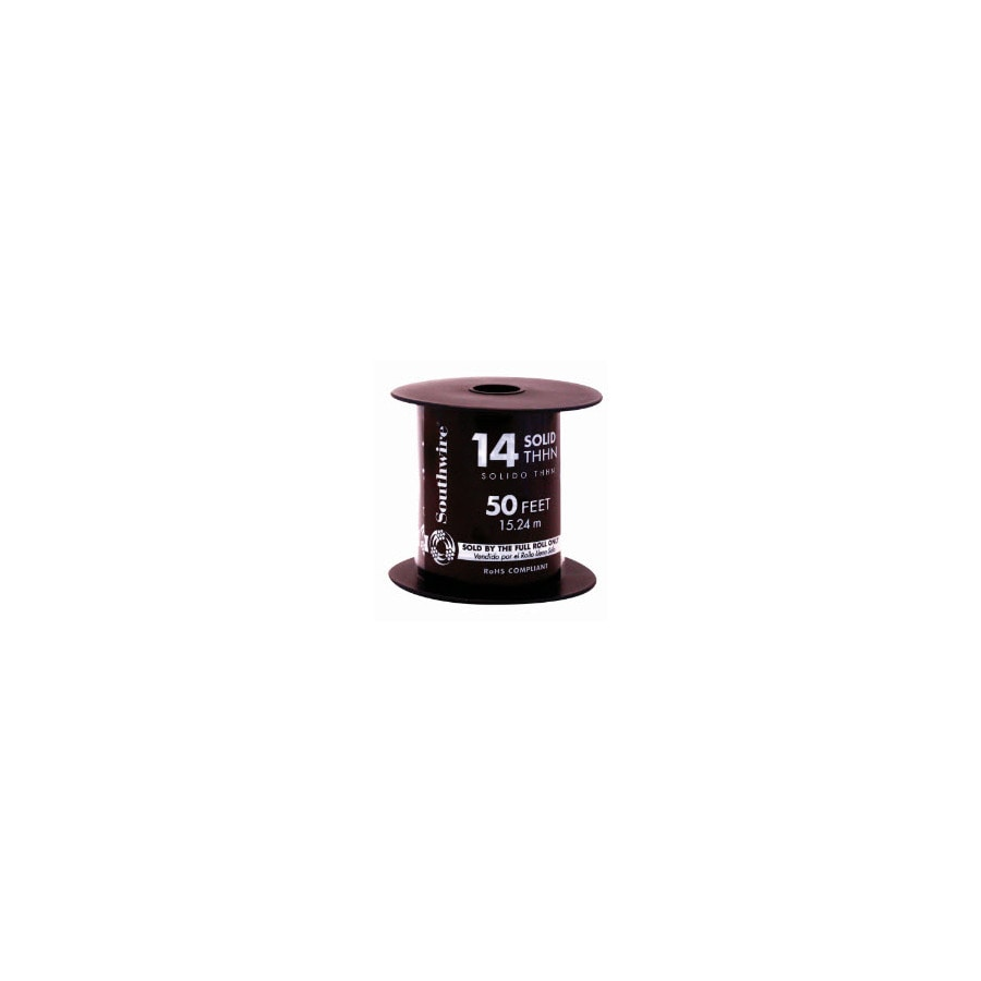 50-ft 14 AWG Solid Black THHN Wire (By-the-Roll)