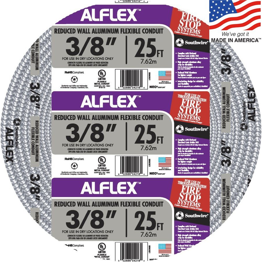 Southwire Metal Flex 25-ft Conduit (Common: 3/8-in; Actual: 0.375-in)