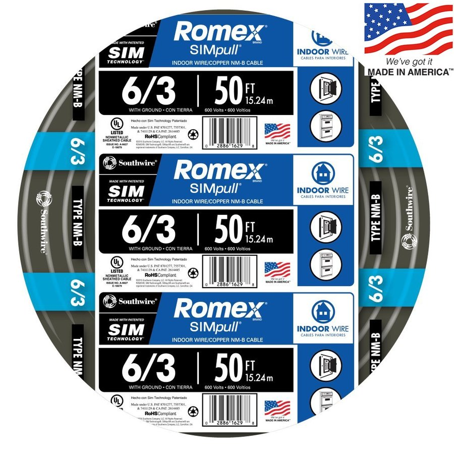 Southwire Romex SIMpull 50-ft 6-3 Non-Metallic Wire (By-the-Roll)