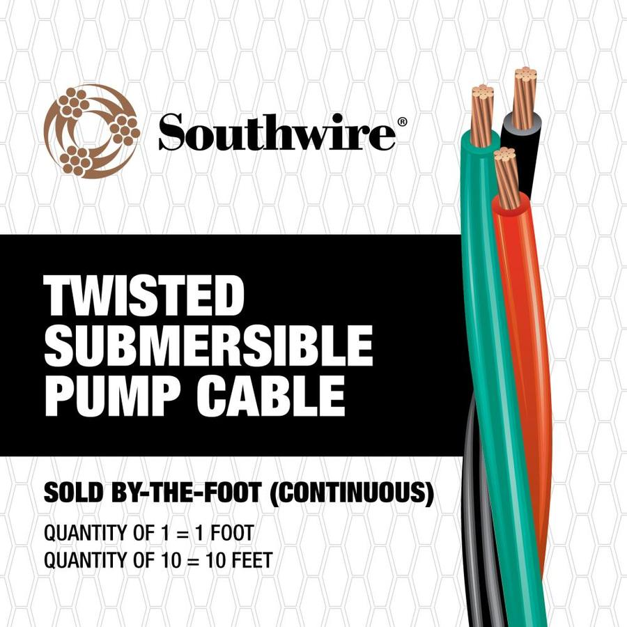 Southwire 10-AWG 2-Conductor Twisted Submersible Pump Cable (By-the-Foot)