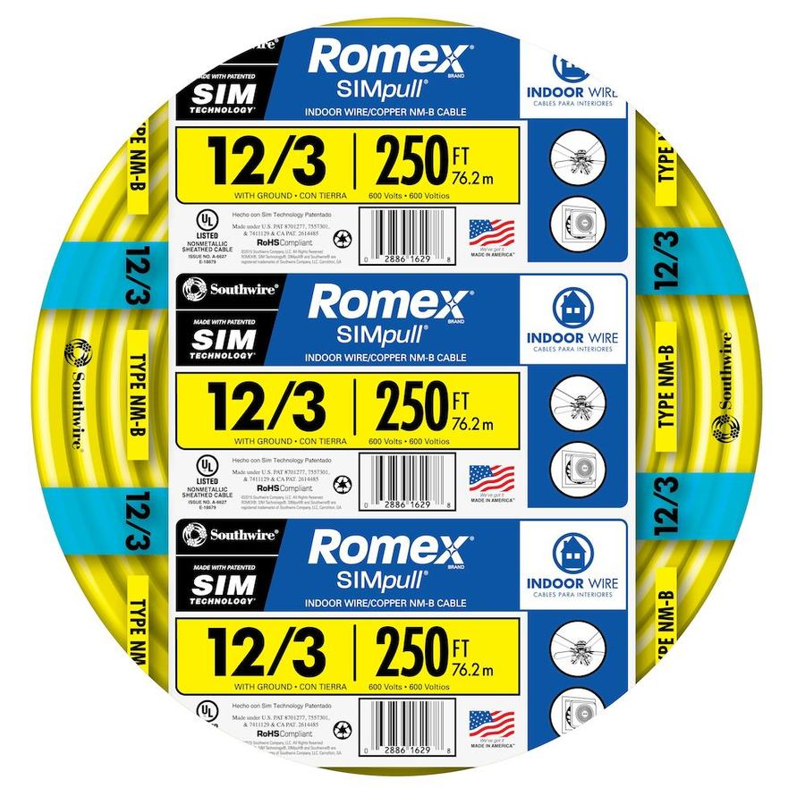 Southwire Romex SIMpull 250-ft 12-3 Non-Metallic Wire (By-the-Roll)