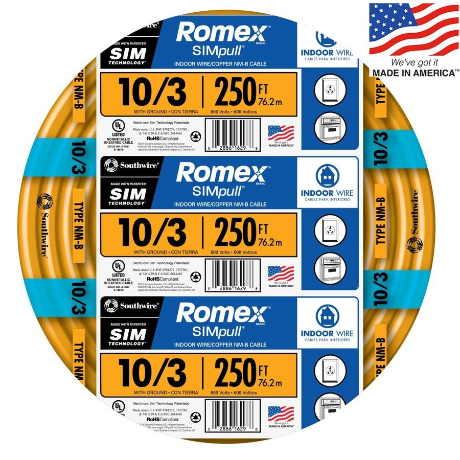 Southwire Romex SIMpull 250-ft 10-3 Non-Metallic Wire (By-the-Roll)