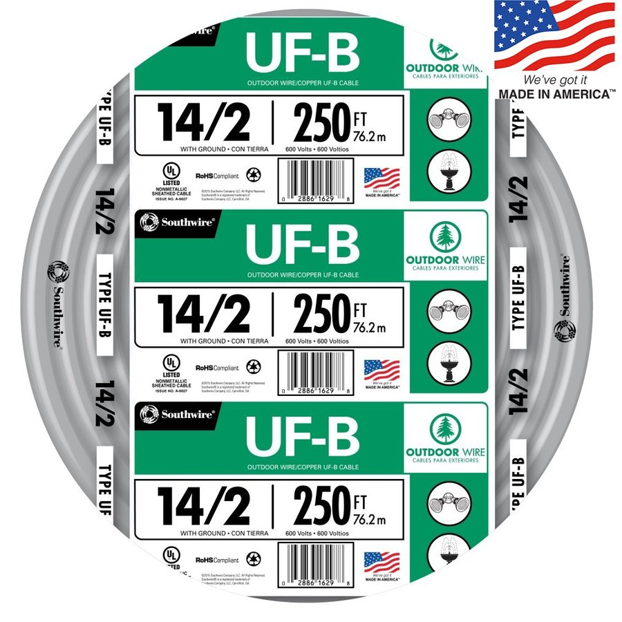 Southwire 250-ft 14-2 UF Wire (By-the-Roll)