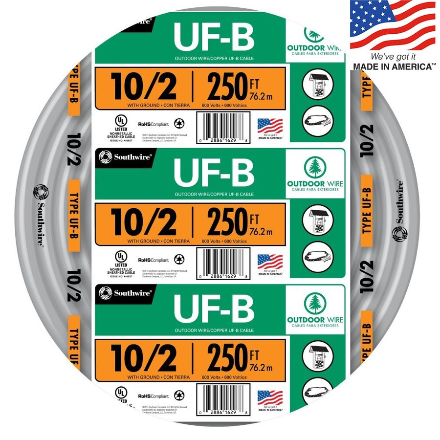 Southwire 250-ft 10-2 UF Wire (By-the-Roll)