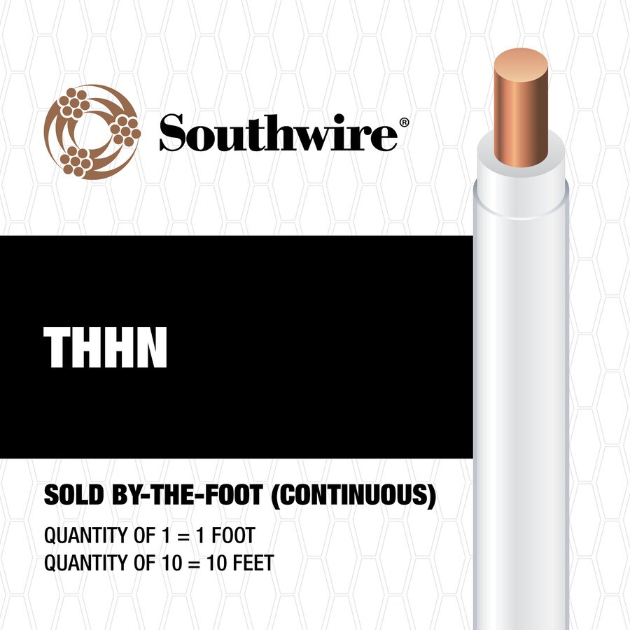 10-AWG Solid White Copper THHN Wire (By-the-Foot)