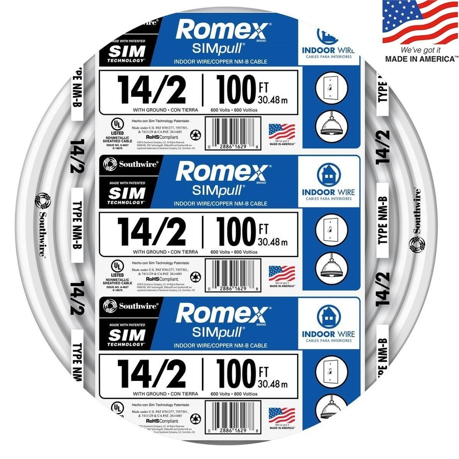 Southwire Romex SIMpull 100-ft 14-2 Non-Metallic Wire (By-The-Roll)