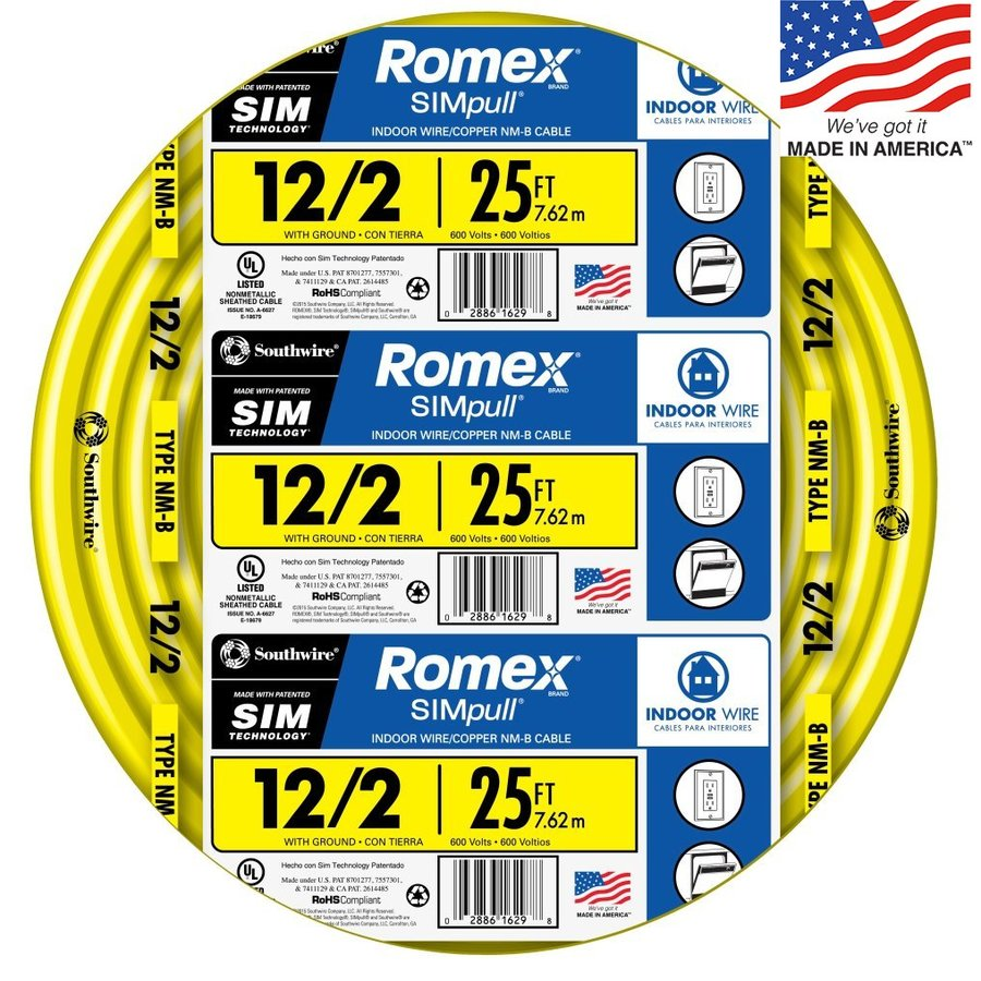 Romex SIMpull 25-ft 12-2 Non-Metallic Wire (By-The-Roll)