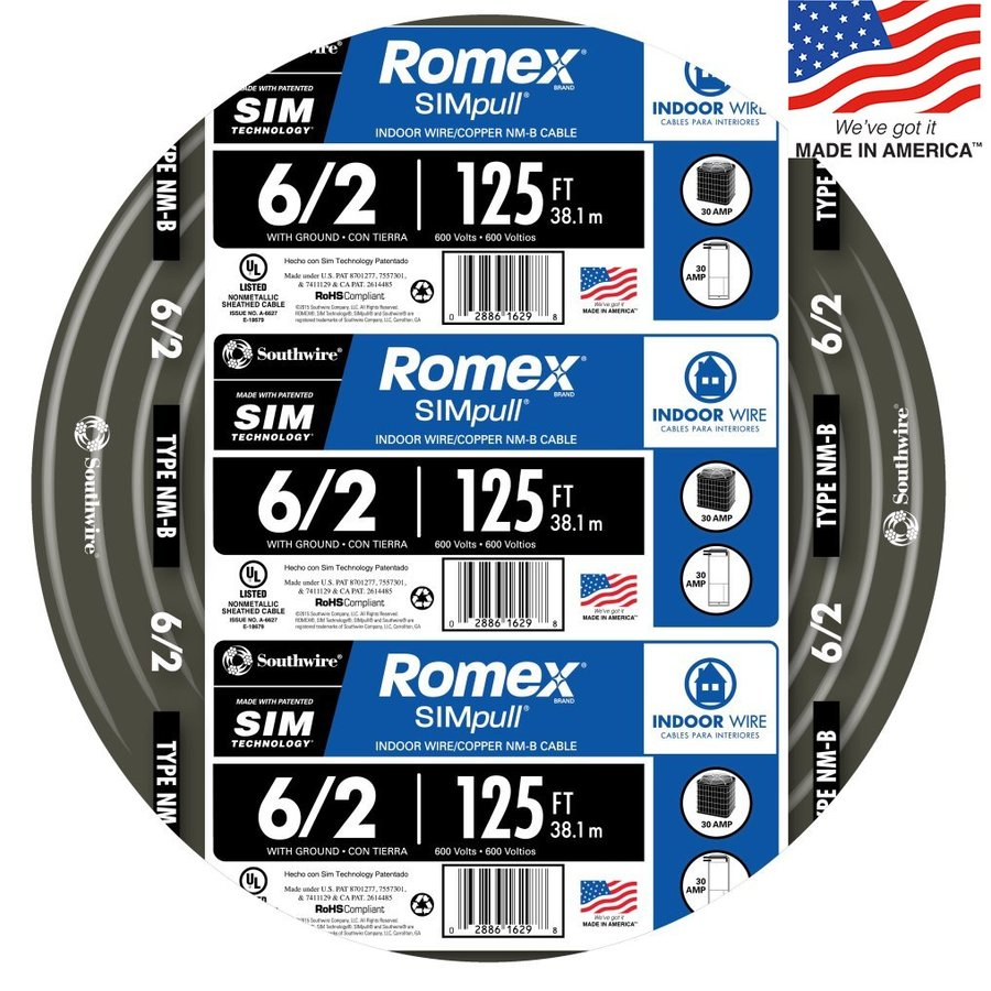 Southwire Romex SIMpull 125-ft 6-2 Non-Metallic Wire (By-the-Roll)