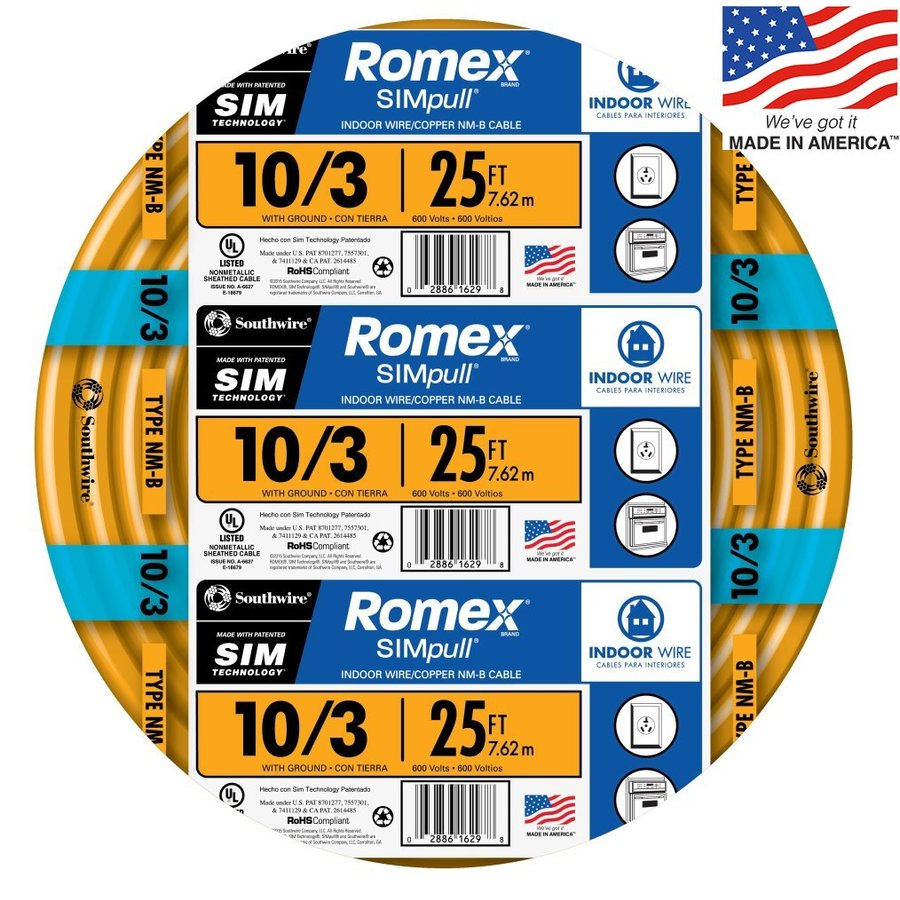 Southwire Romex SIMpull 25-ft 10-3 Non-Metallic Wire (By-the-Roll)