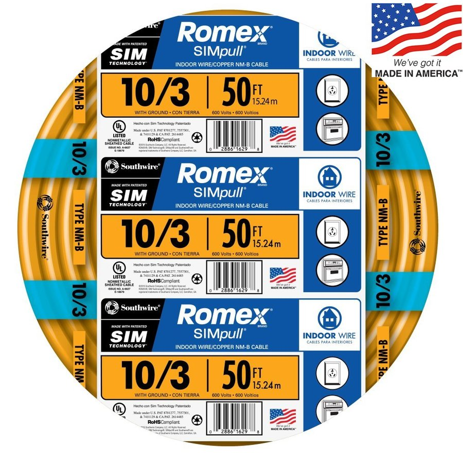 Southwire Romex SIMpull 50-ft 10-3 Non-Metallic Wire (By-the-Roll)