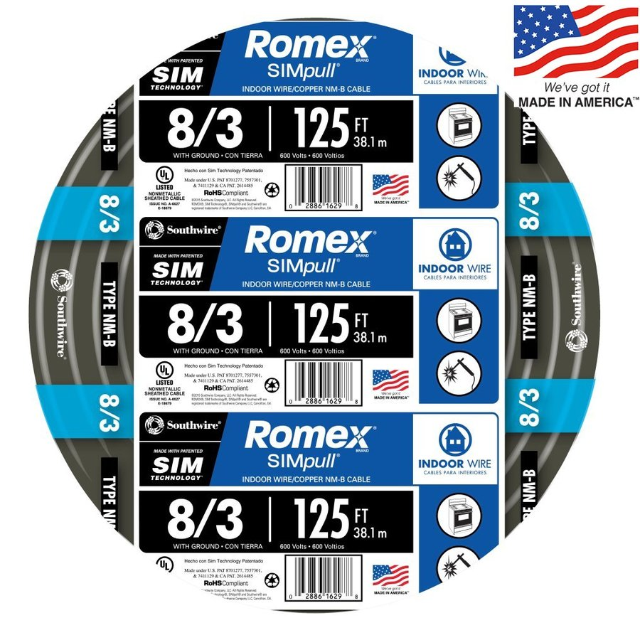 Romex SIMpull 125-ft 8-3 Non-Metallic Wire (By-the-Roll)