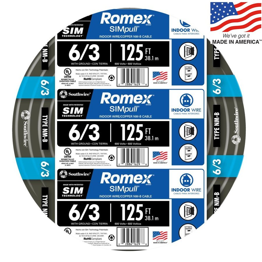 Southwire Romex SIMpull 125-ft 6-3 Non-Metallic Wire (By-the-Roll)