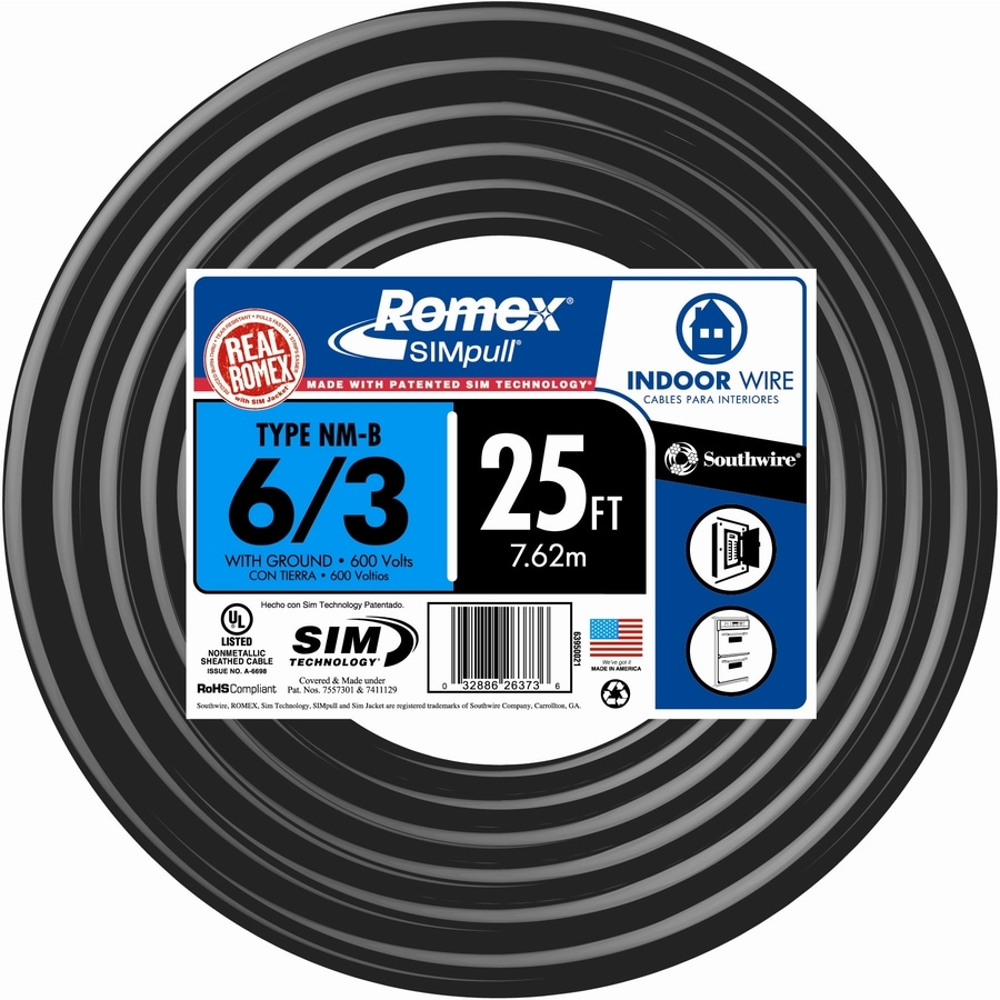 25-ft 6-3 Non-Metallic Wire (By-the-Roll)