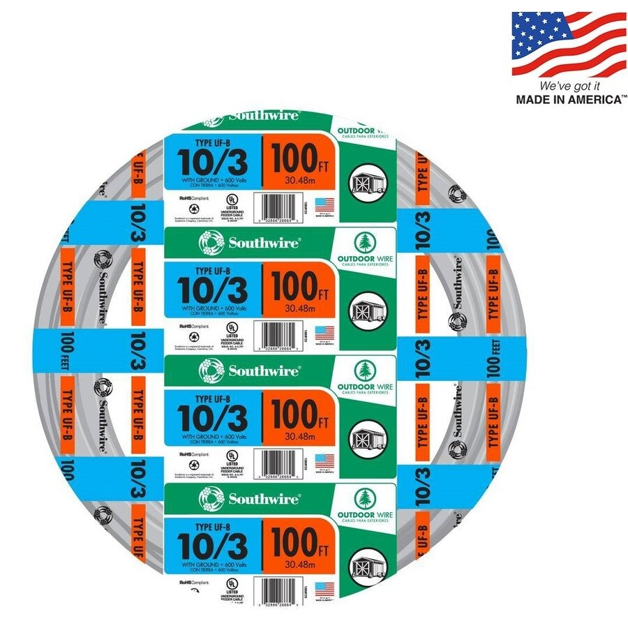 Southwire 100-ft 10-3 UF Wire (By-the-Roll)