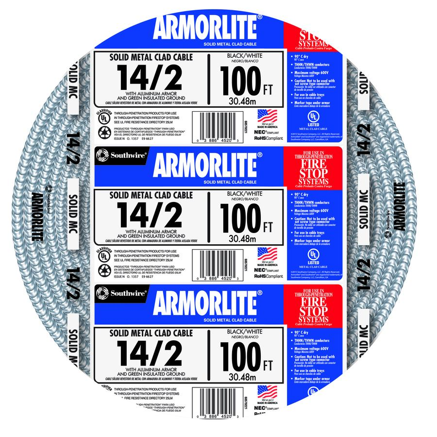 Shop Armorlite 100 Ft 14 2 Solid Aluminum Mc Cable At