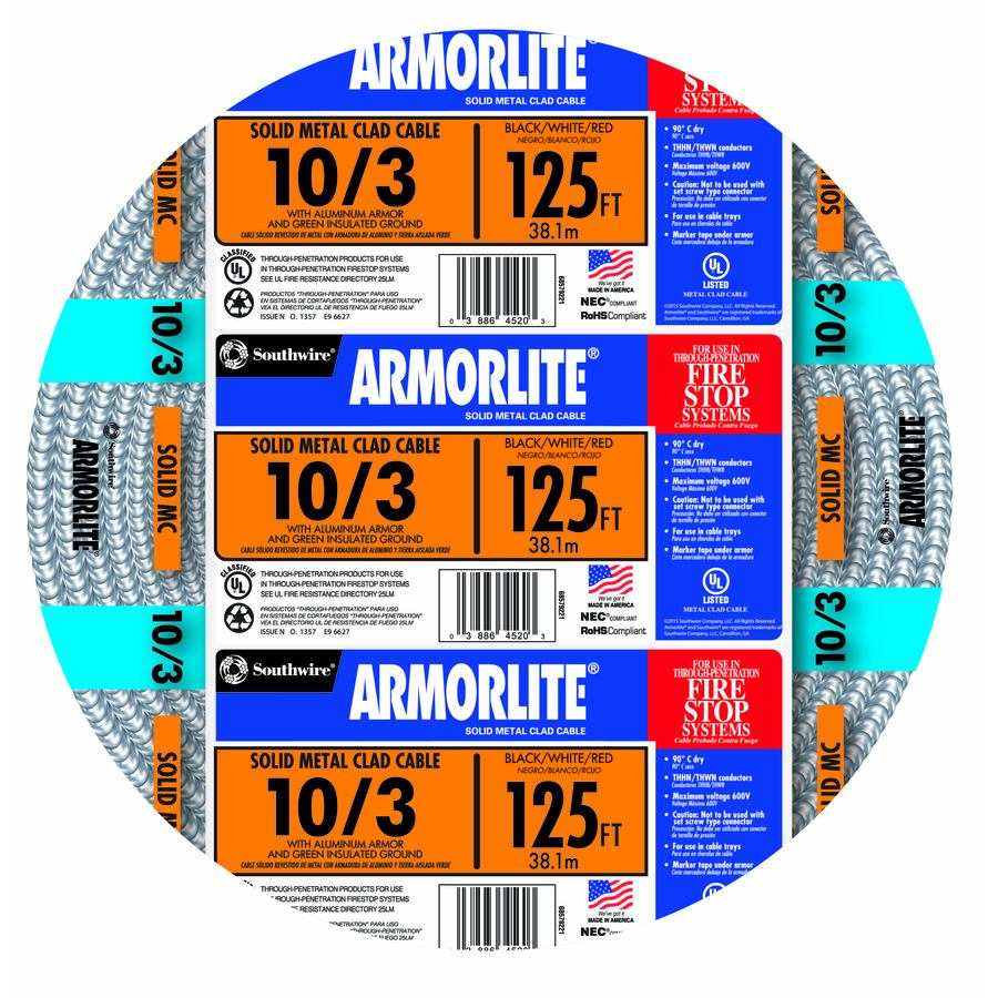 Armorlite 125-ft 10-3 Solid Aluminum MC Cable