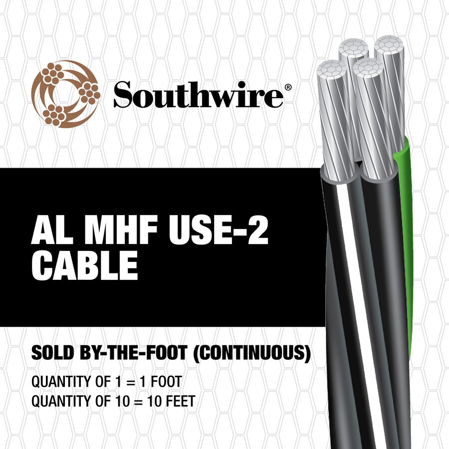 4/0-4/0-4/0-2/0 Aluminum Mobile Home Feeder Service Entrance Cable (By-the-Foot)