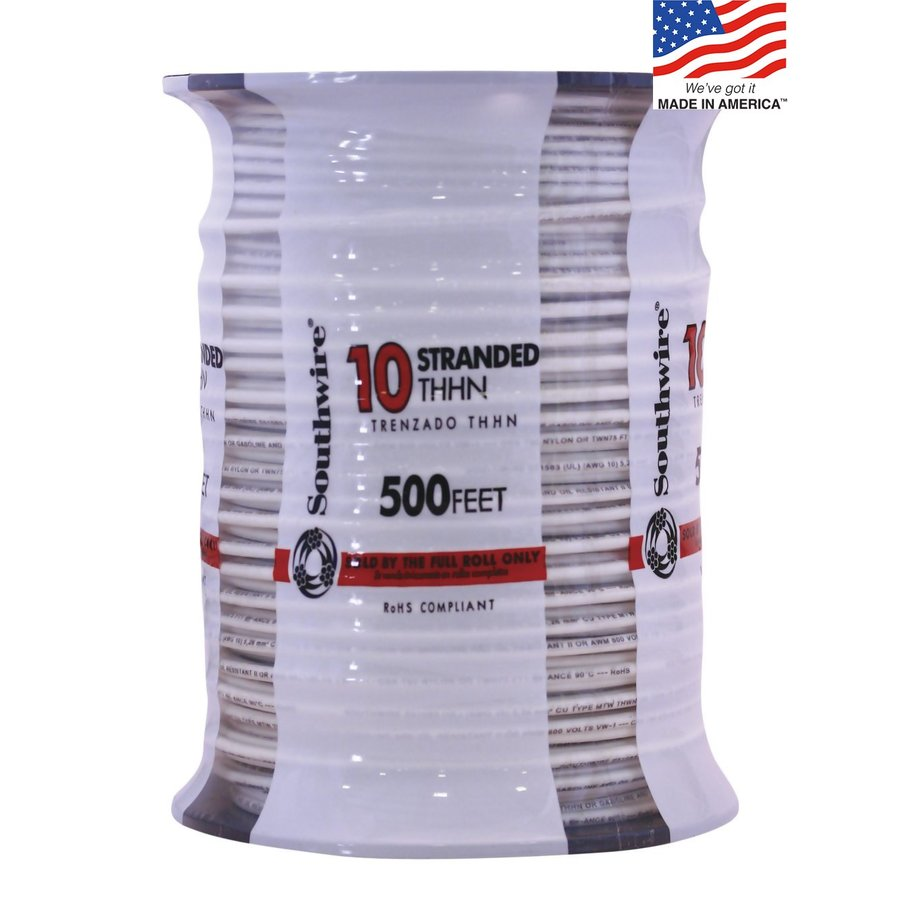 500-ft 10-AWG Stranded White Copper THHN Wire (By-the-Roll)