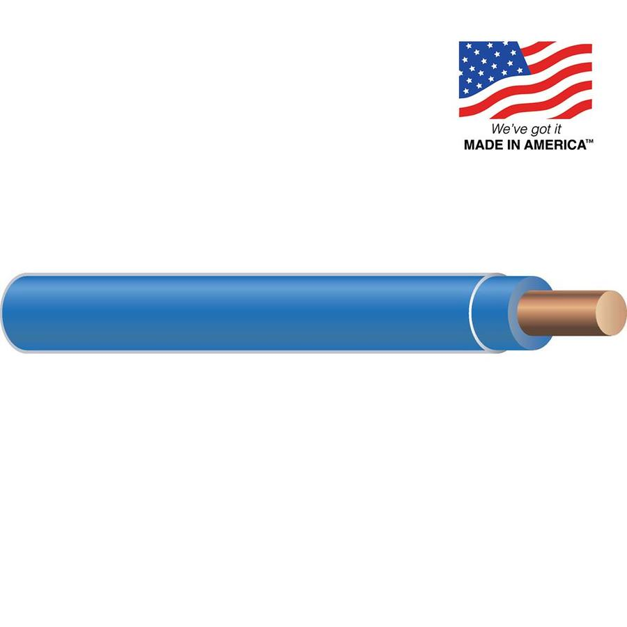 12-AWG Solid Blue Copper THHN Wire (By-the-Foot)