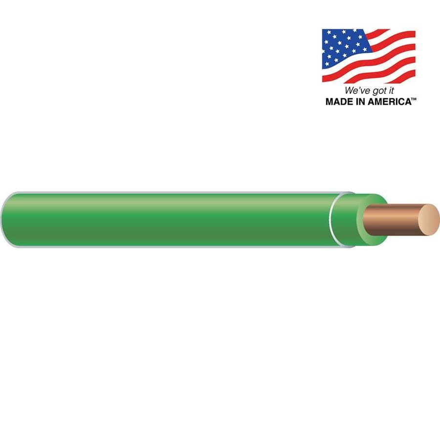 12-AWG Solid Green Copper THHN Wire (By-the-Foot)
