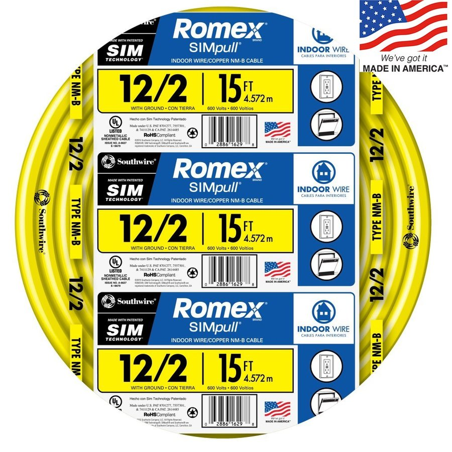 Southwire Romex SIMpull 15-ft 12-2 Non-Metallic Wire (By-The-Roll)