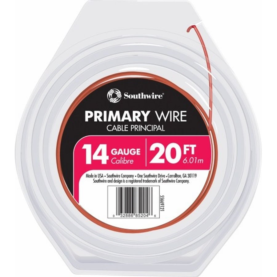 Southwire 20-ft 14-AWG Stranded Red GPT Primary Wire