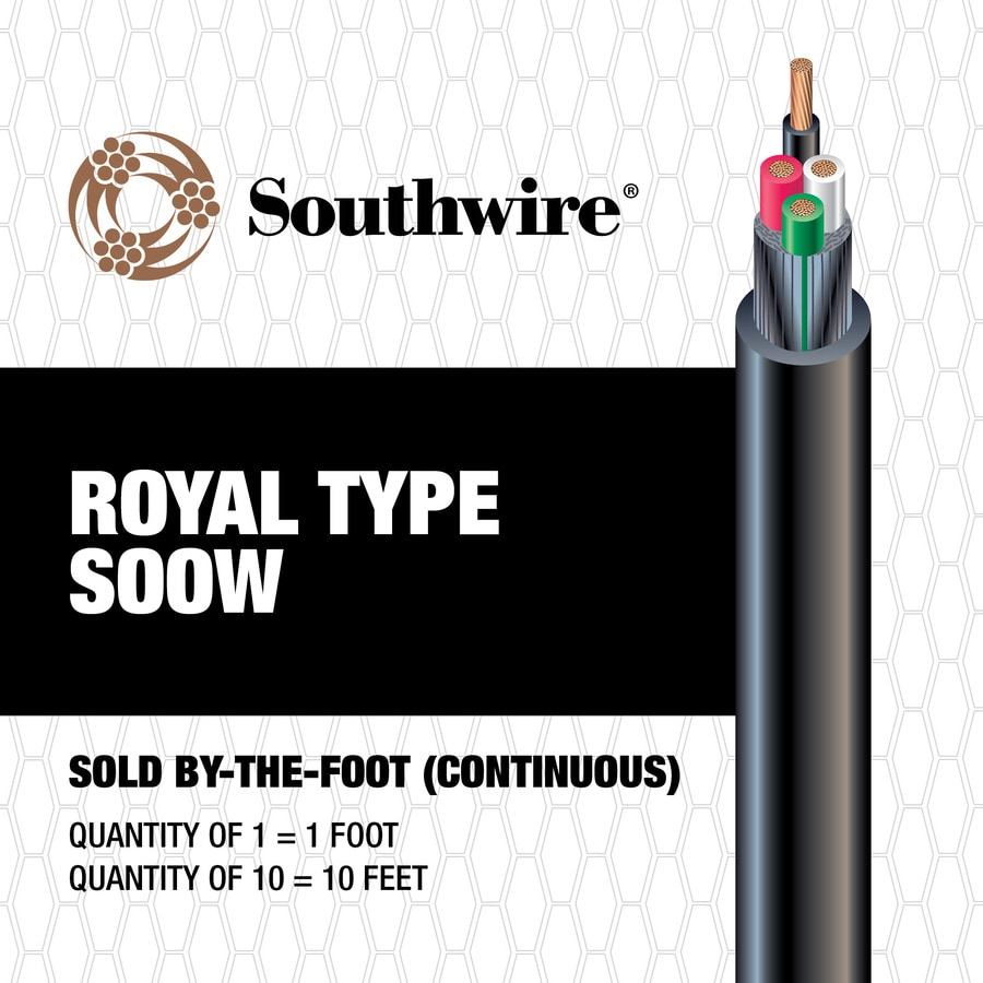 Southwire 12 to 4 Black SOOW Power Cord (By-the-Foot)