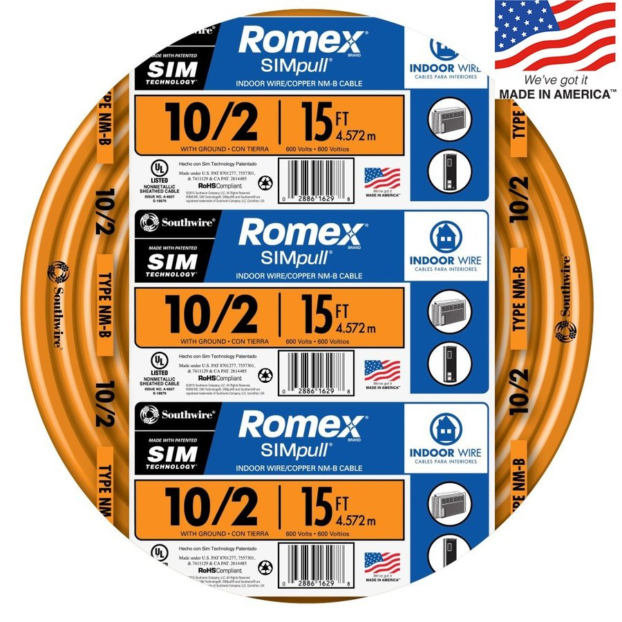 Southwire Romex SIMpull 15-ft 10-2 Non-Metallic Wire (By-The-Roll)