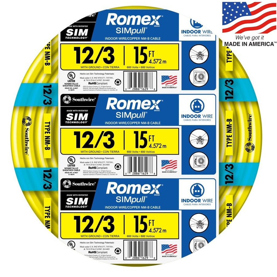 Southwire Romex SIMpull 15-ft 12-3 Non-Metallic Wire (By-The-Roll)