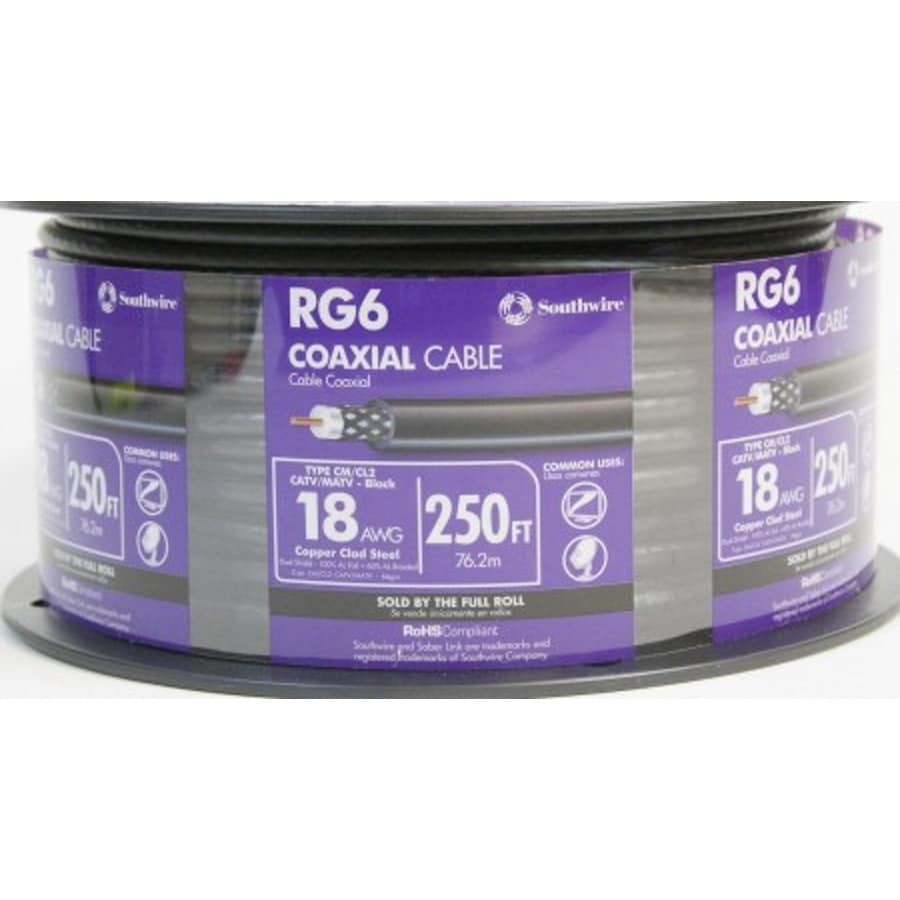 250-ft 18-AWG RG6 Black Coax Cable
