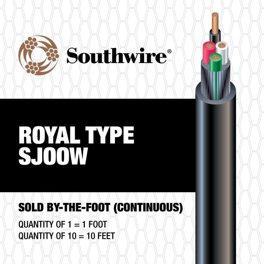 10 to 4 Black SJOOW Power Cord (By-the-Foot)