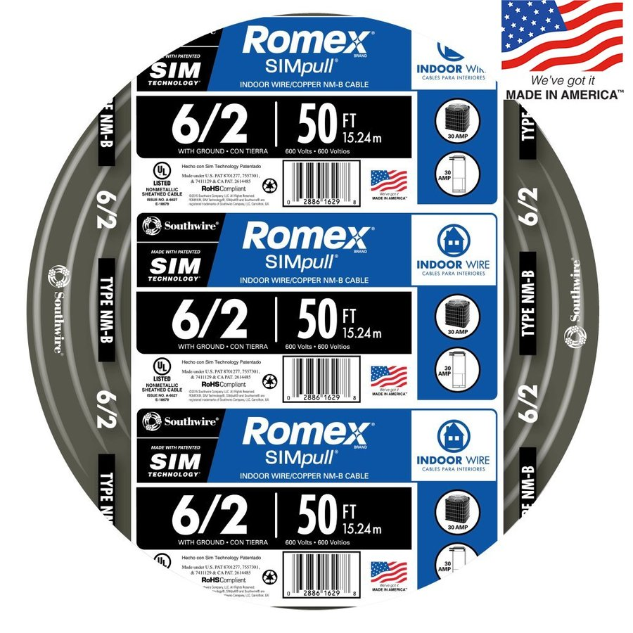 Southwire Romex SIMpull 50-ft 6-2 Non-Metallic Wire (By-the-Roll)