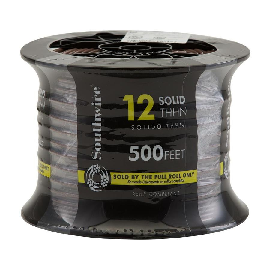 Southwire 500-ft 12-AWG Solid Brown Copper THHN Wire (By-the-Roll)