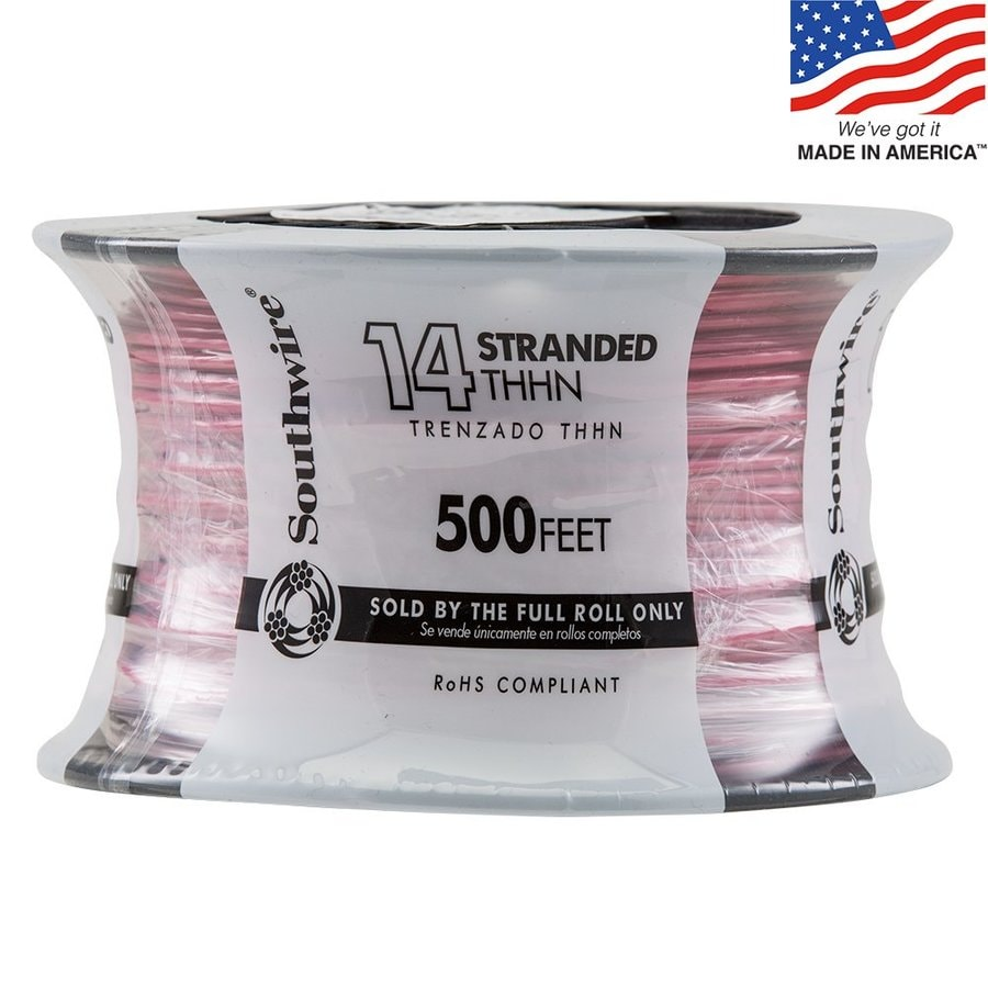 500-ft 14-AWG Stranded Red Copper THHN Wire (By-the-Roll)