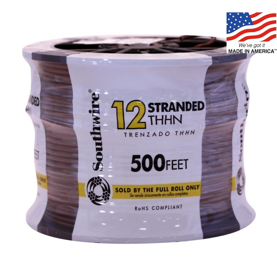 500-ft 12-AWG Stranded Red Copper THHN Wire (By-the-Roll)