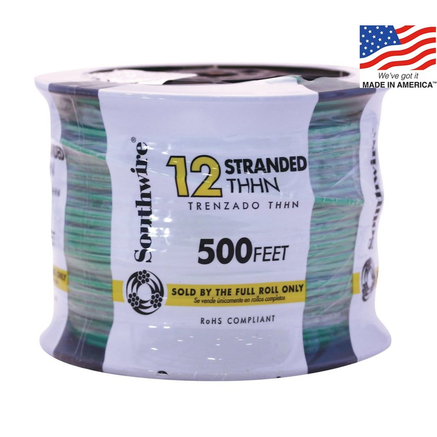 500-ft 12-AWG Stranded Green Copper THHN Wire (By-the-Roll)