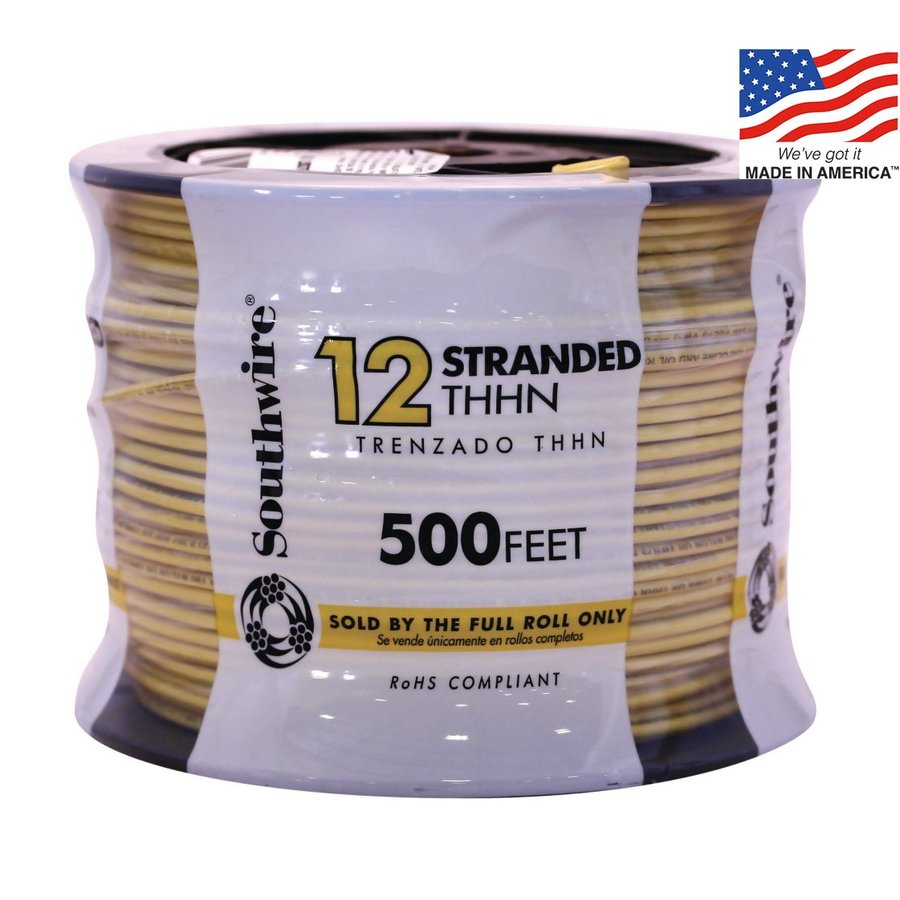 500-ft 12-AWG Stranded Yellow Copper THHN Wire (By-the-Roll)