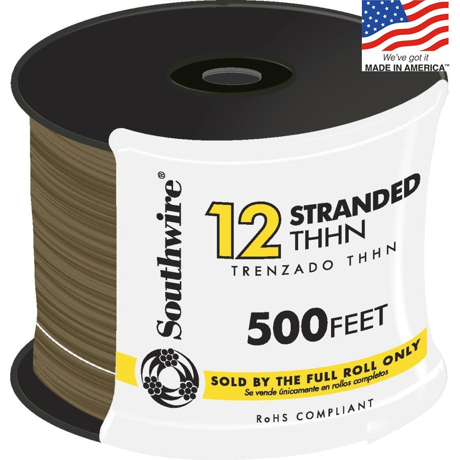 Southwire 500-ft 12-AWG Stranded Brown Copper THHN Wire (By-the-Roll)