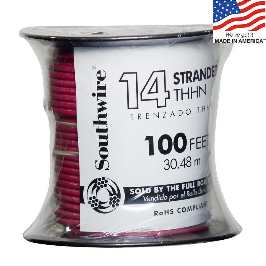 100-ft 14-AWG Stranded Red Copper THHN Wire (By-the-Roll)