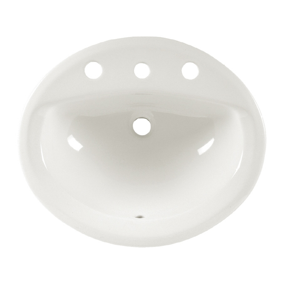 American Standard Aqualyn White Drop-In Oval Bathroom Sink with Overflow