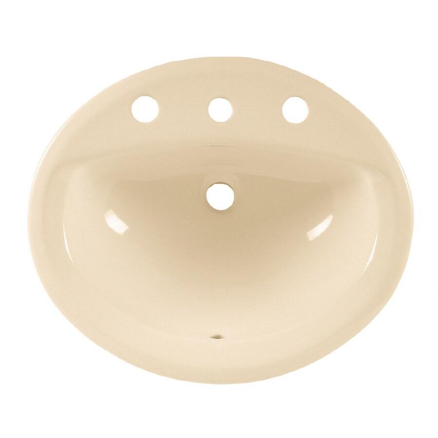 American Standard Aqualyn Bone Drop-In Oval Bathroom Sink with Overflow