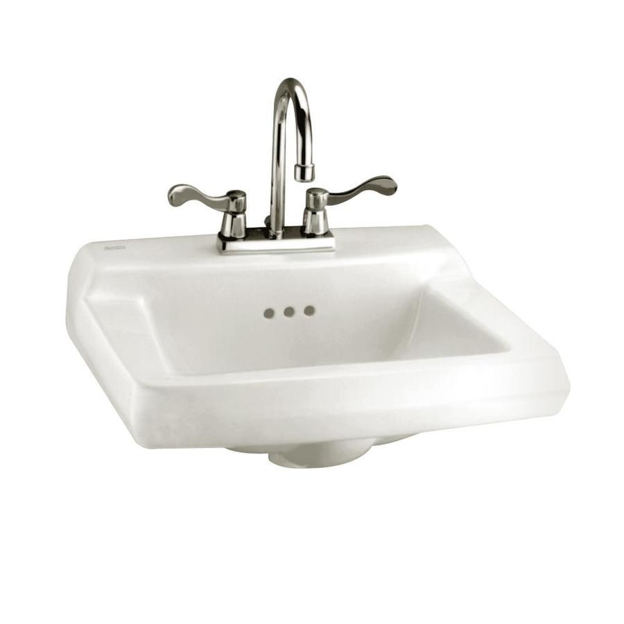 American Standard Comrade White Wall-Mount Rectangular Bathroom Sink with Overflow